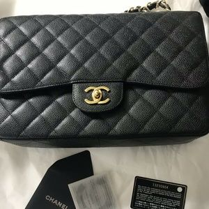 CHANEL Black Caviar Single Flap GHW Excellent!!!